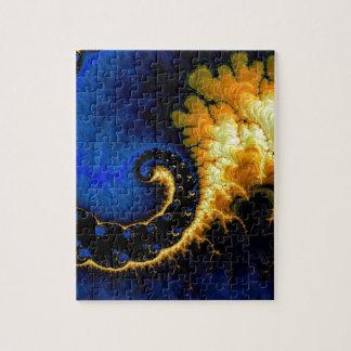 Blue Golden Yellow Fractal Jigsaw Puzzle