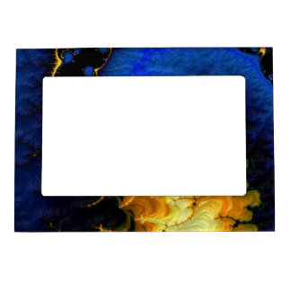 Blue Golden Yellow Fractal Magnetic Photo Frame