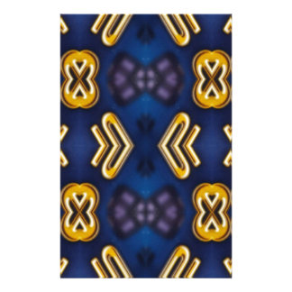 Blue Golden Yellow Masculine Pattern Stationery