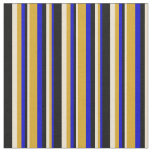 [ Thumbnail: Blue, Goldenrod, Beige & Black Colored Lines Fabric ]