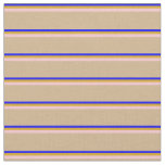 [ Thumbnail: Blue, Goldenrod, Pink & Tan Pattern of Stripes Fabric ]
