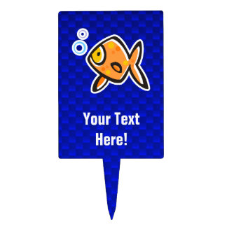 Blue Goldfish Rectangle Cake Toppers