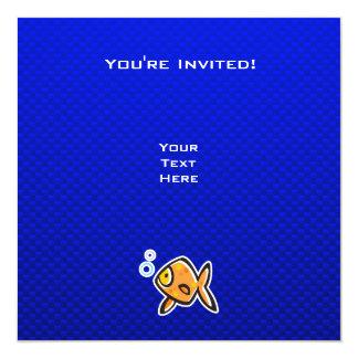 Blue Goldfish 5.25x5.25 Square Paper Invitation Card