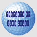 Blue Golf Ball Property of Name Stickers sticker