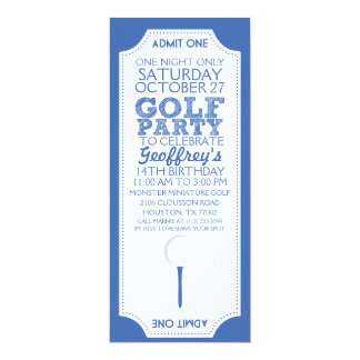 Blue Golf Ticket Golf Birthday Party Invitation