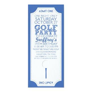Blue Golf Ticket Golf Birthday Party Invitation