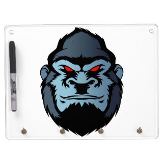 blue gorilla head dry erase board with keychain holder