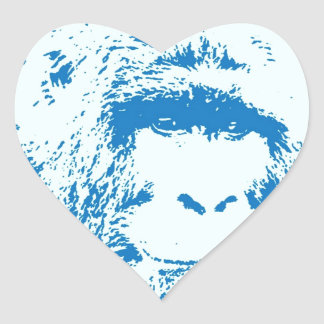 Blue Gorilla Heart Sticker