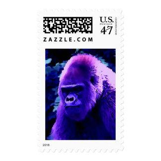 Blue Gorilla Postage Stamp