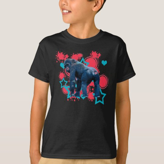 Blue Gorilla Red and Blue stars and hearts T-Shirt