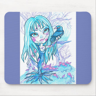 Blue Goth Girl and Crow Mousepad