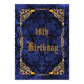 Blue Gothic & Gold Framed 18th Birthday Card