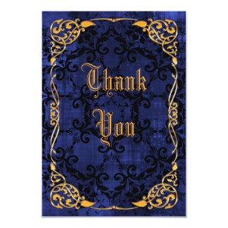 Blue Gothic & Gold Framed Birthday Thank You Card