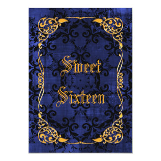 Blue Gothic & Gold Framed Sweet 16 Card