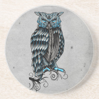 Blue Gothic Owl Halloween Beverage Coaster