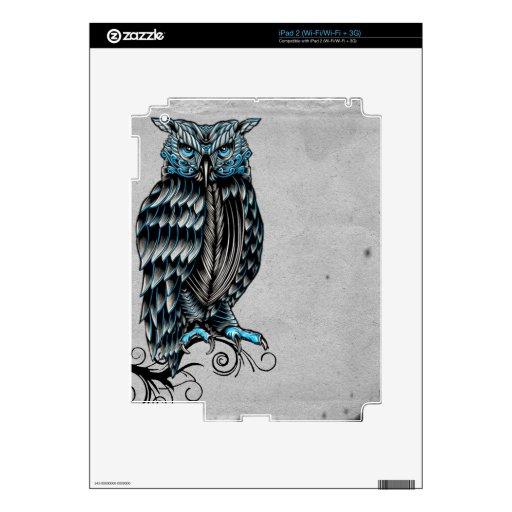 Blue Gothic Owl Halloween iPad 2 Decals