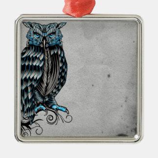 Blue Gothic Owl Halloween Metal Ornament