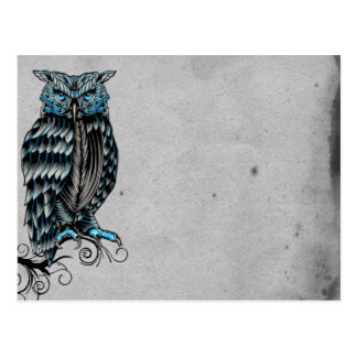 Blue Gothic Owl Halloween Postcard