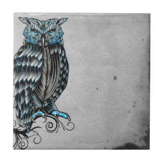 Blue Gothic Owl Halloween Small Square Tile