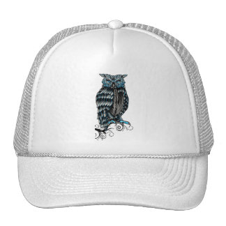 Blue Gothic Owl Halloween Trucker Hat