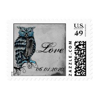 Blue Gothic Owl Posh Postage Stamp