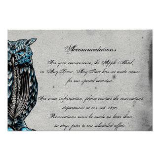 Blue Gothic Owl Posh Wedding Insert Personalized Invitations