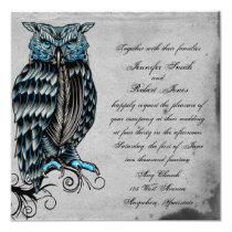 Blue Gothic Owl Posh Wedding Invitation