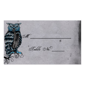 Blue Gothic Owl Posh Wedding Place Cards Business Card Templates