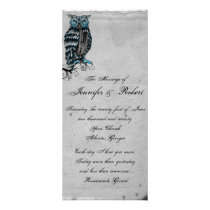 Blue Gothic Owl Posh Wedding Program