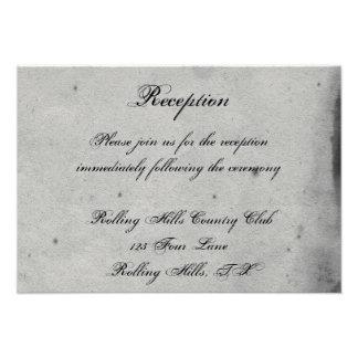 Blue Gothic Owl Posh Wedding Reception Announcements