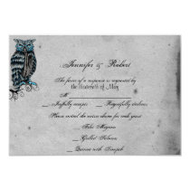 Blue Gothic Owl Posh Wedding Response Card