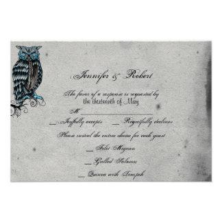 Blue Gothic Owl Posh Wedding Response Card