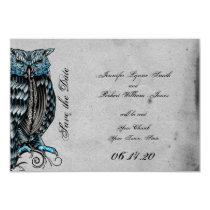 Blue Gothic Owl Posh Wedding Save the Date Card