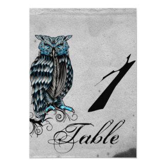 Blue Gothic Owl Posh Wedding Table Number