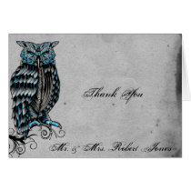 Blue Gothic Owl Posh Wedding Thank You Card
