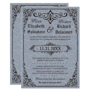 Blue Gothic Victorian Damask Wedding Invites