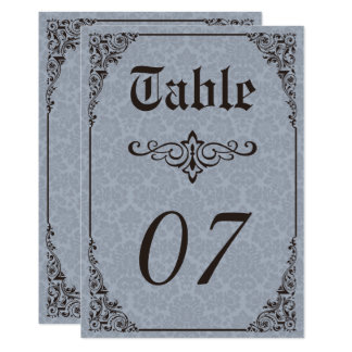 Blue Gothic Victorian Damask Wedding Table Numbers