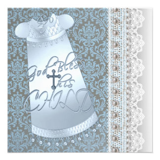 Blue Gown Brown Blue Damask Baby Boy Christening Personalized Invites