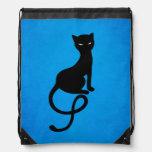 Blue Gracious Evil Black Cat Drawstring Backpacks
