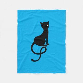 Blue Gracious Evil Black Cat Fleece Blanket