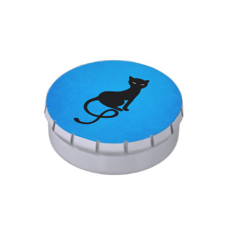 Blue Gracious Evil Black Cat Jelly Belly Tins