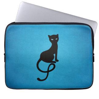 Blue Gracious Evil Black Cat Laptop Computer Sleeve