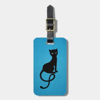 Blue Gracious Evil Black Cat Personalized Bag Tag