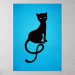 Blue Gracious Evil Black Cat Posters