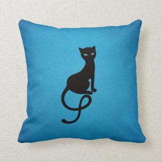 Blue Gracious Evil Black Cat Throw Pillow