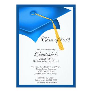 Blue Grad Cap Graduation Party Invitation