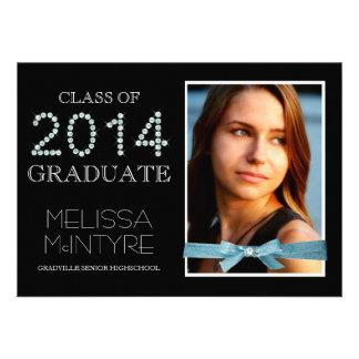 Blue Grad for Girls Photo and Faux Bling 2014 Custom Invites
