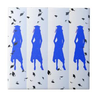 Blue Grad Girl Silhouettes Ceramic Tile