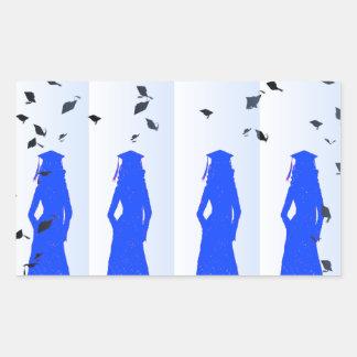 Blue Grad Girl Silhouettes Rectangular Sticker