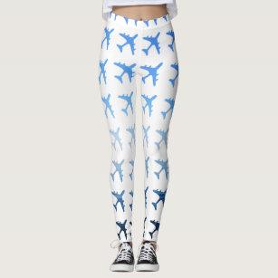 38d0567731d3e9 Blue Gradient Airplane Pattern Leggings